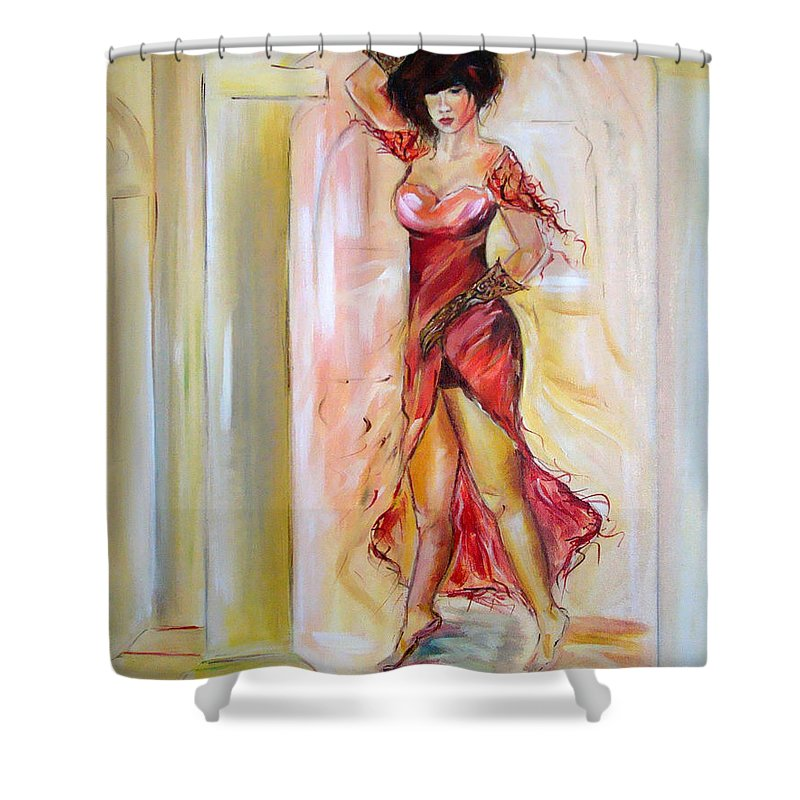 Contemporary Art Shower Curtain featuring the painting Lady In Red by Silvana Abel