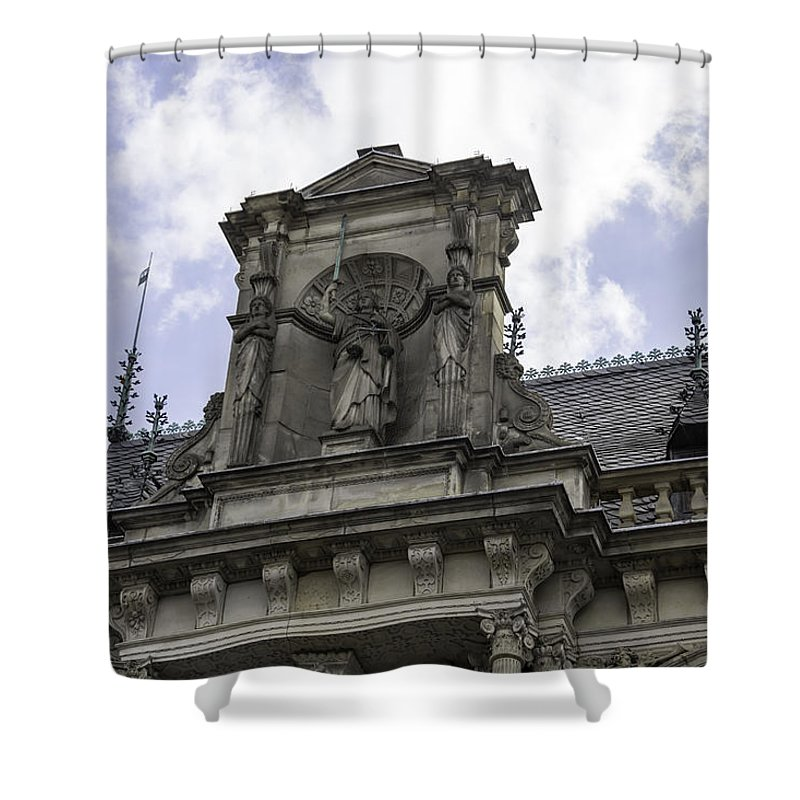 2014 Shower Curtain featuring the photograph Lady Justice City Hall Cologne Germany by Teresa Mucha