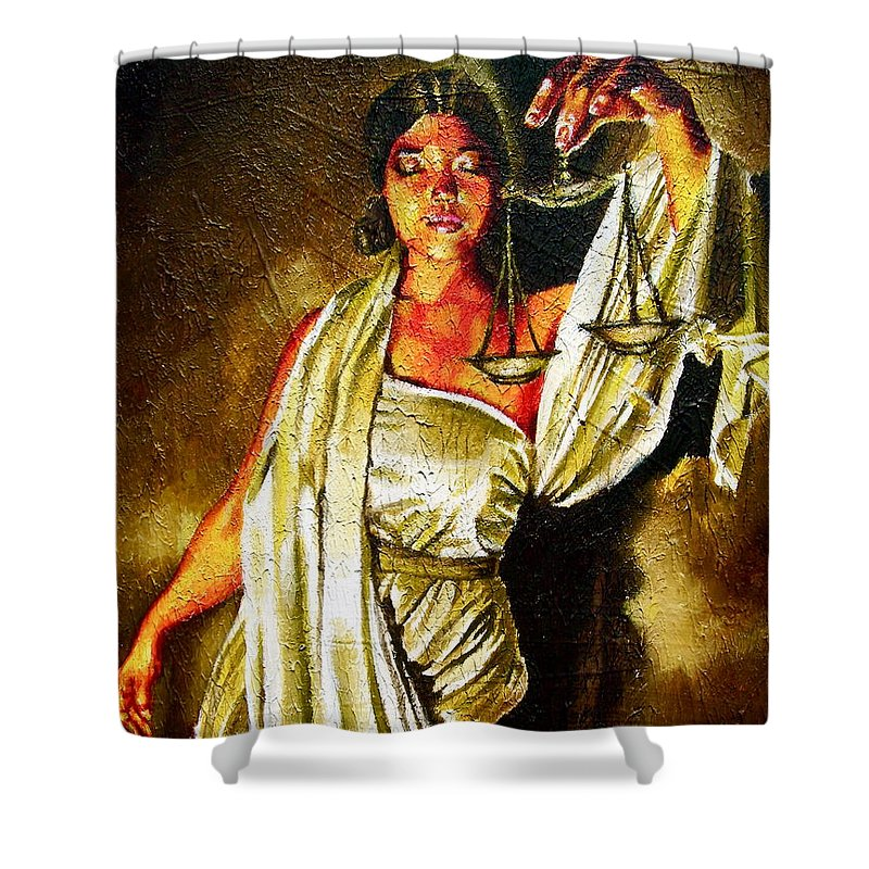 Law Art Shower Curtain featuring the painting Lady Justice Sepia by Laura Pierre-Louis