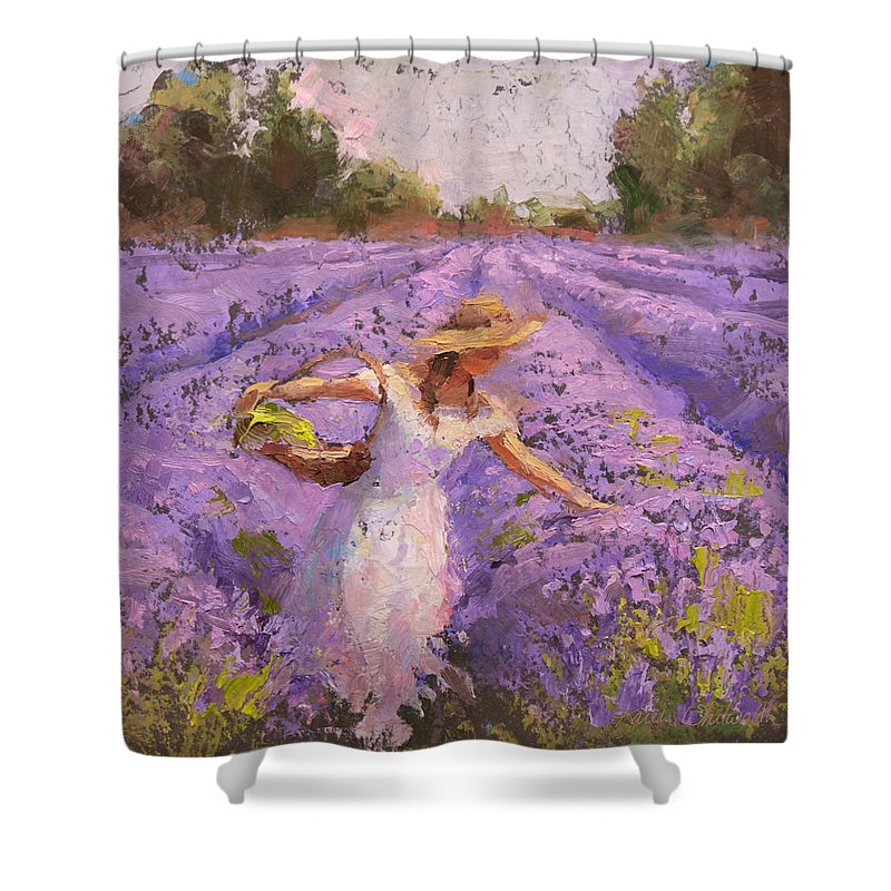 Lavender Art Shower Curtain featuring the painting Woman Picking Lavender In A Field In A White Dress - Lady Lavender - Plein Air Painting by Karen Whitworth