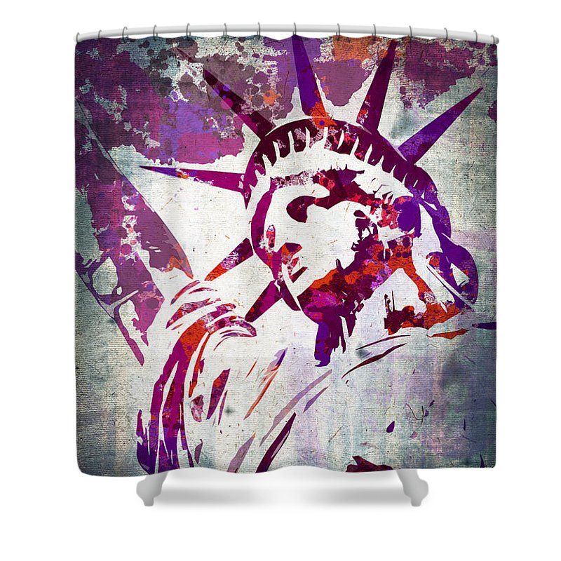 Statue Of Liberty Shower Curtain featuring the painting Lady Liberty Watercolor by Delphimages Photo Creations