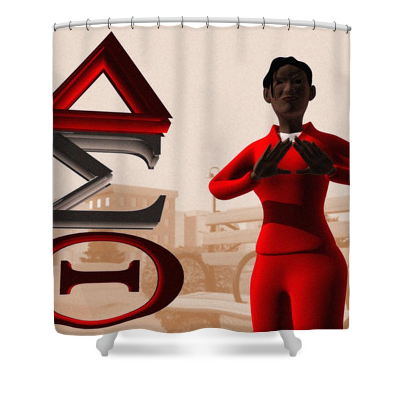 Delta Sigma Theta Shower Curtain featuring the digital art Lady Of Dst by James Bowman