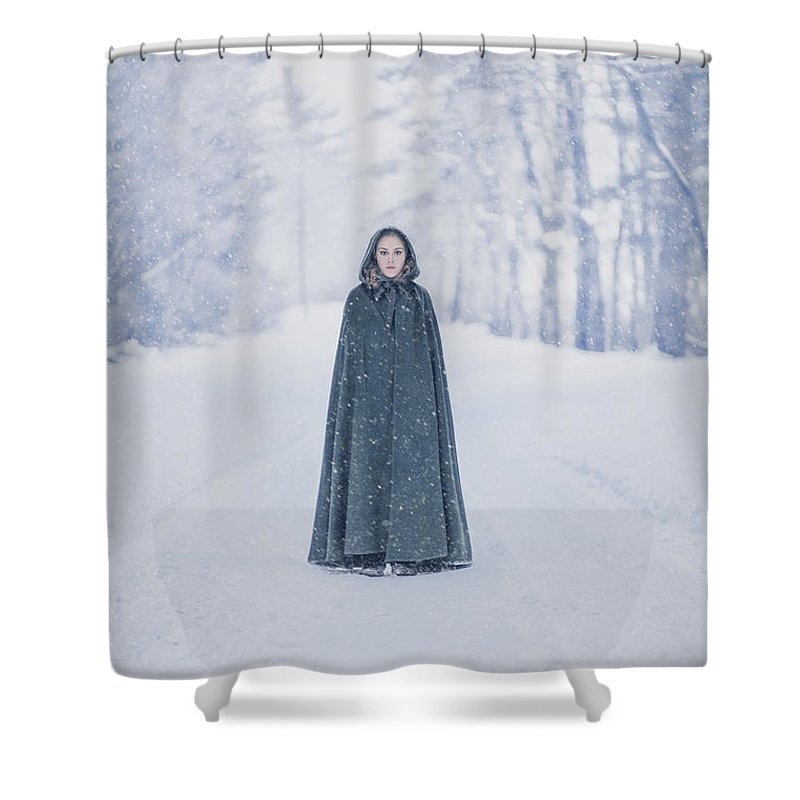 Kremsdorf Shower Curtain featuring the photograph Lady Of The Winter Forest by Evelina Kremsdorf