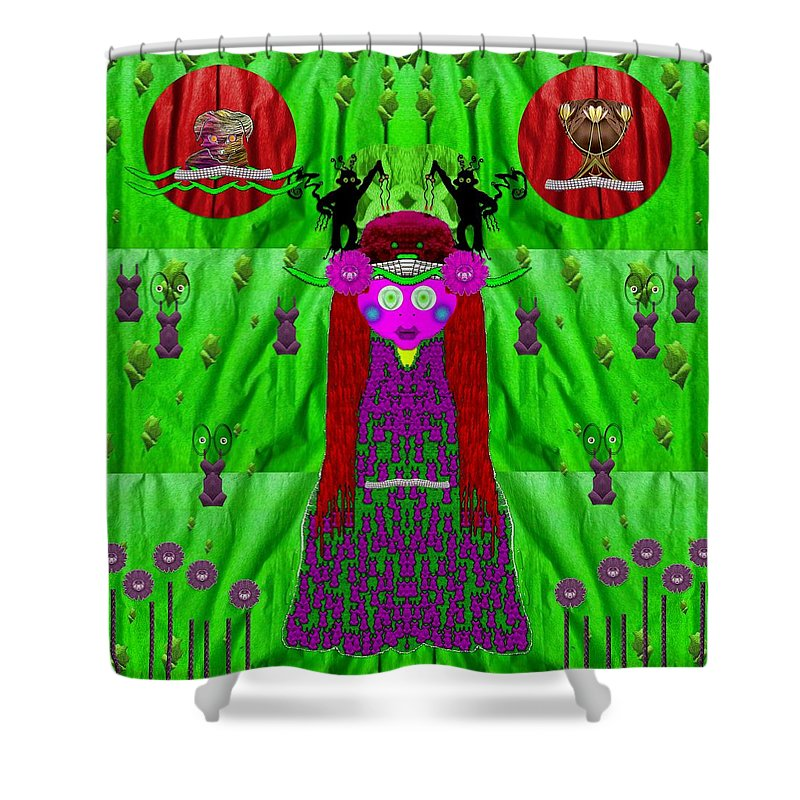 Dog Shower Curtain featuring the mixed media Lady Panda Have Arrived by Pepita Selles