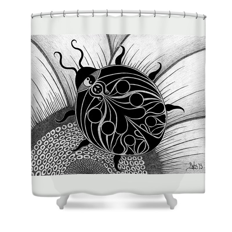 Lady Bug Shower Curtain featuring the drawing Lady Spirit by Barb Cote