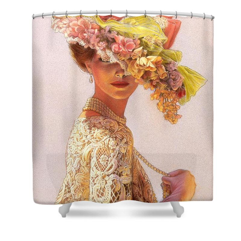 Portrait Shower Curtain featuring the painting Lady Victoria Victorian Elegance by Sue Halstenberg