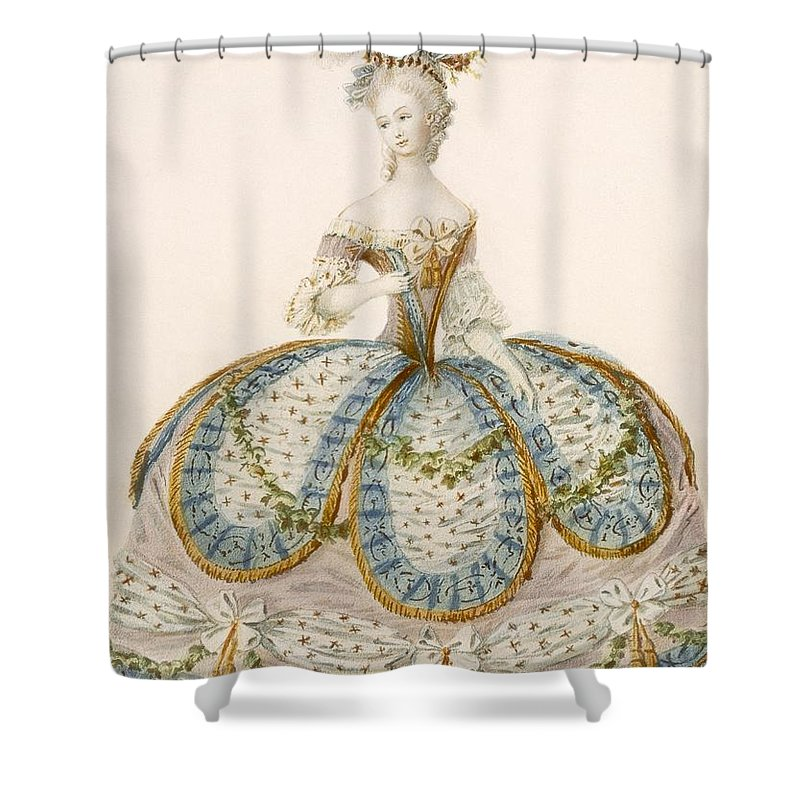 Clothing Shower Curtain Featuring The Drawing Lady Wearing Dress For A Royal By French School