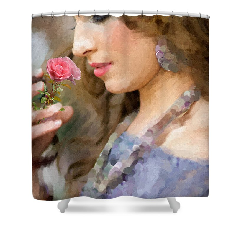 Woman Shower Curtain featuring the painting Lady With Pink Rose by Angela Stanton