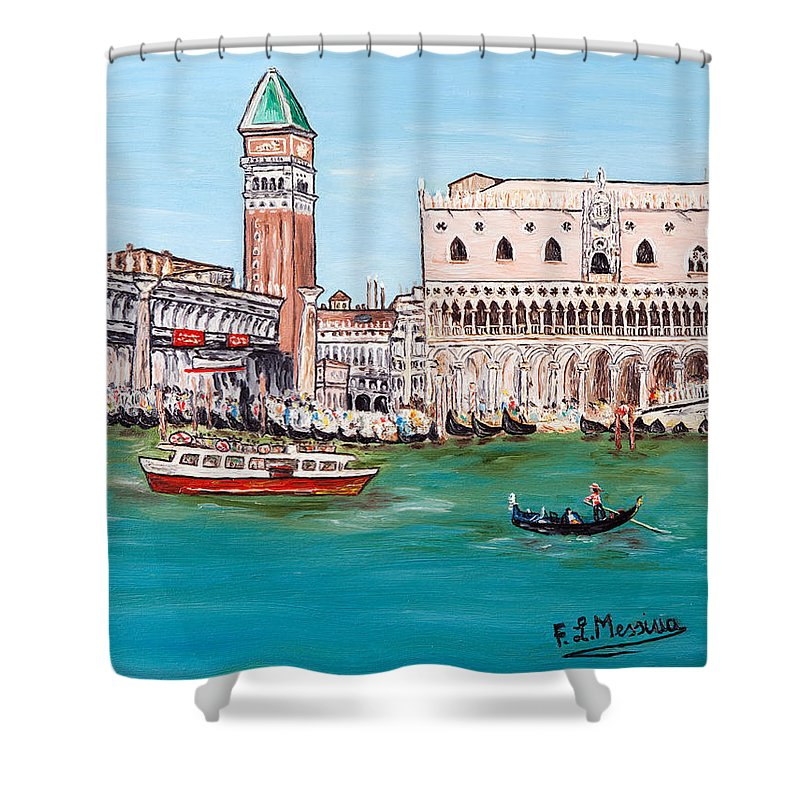 Loredana Messina Shower Curtain featuring the painting Laguna by Loredana Messina