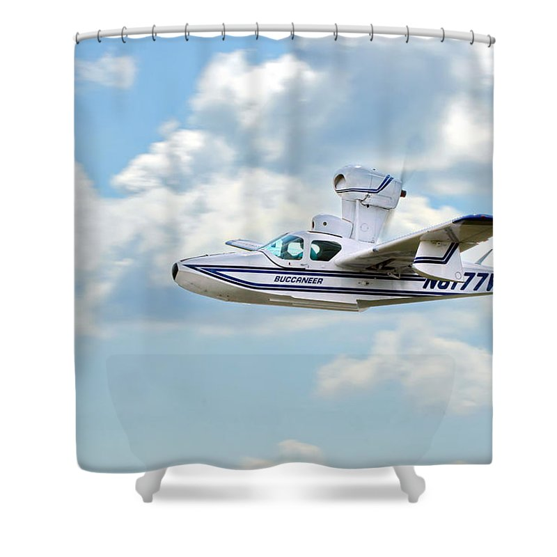 Airplane Shower Curtain featuring the photograph Lake Buccaneer by Alan Hutchins