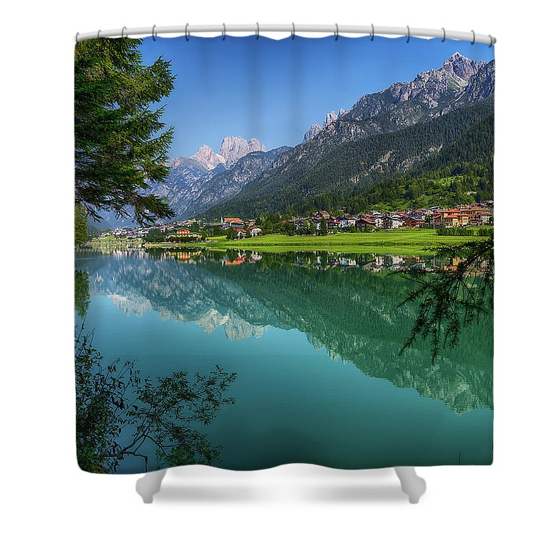 Veneto Shower Curtain featuring the photograph Lake. Color Image by Claudio.arnese