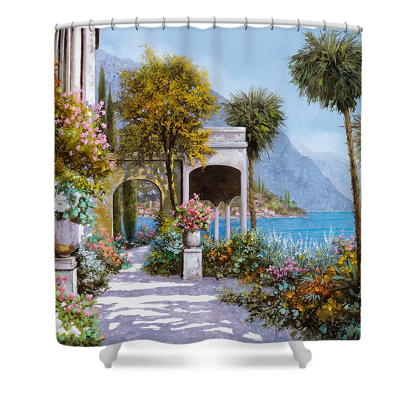 Lake Shower Curtain featuring the painting Lake Como-la Passeggiata Al Lago by Guido Borelli