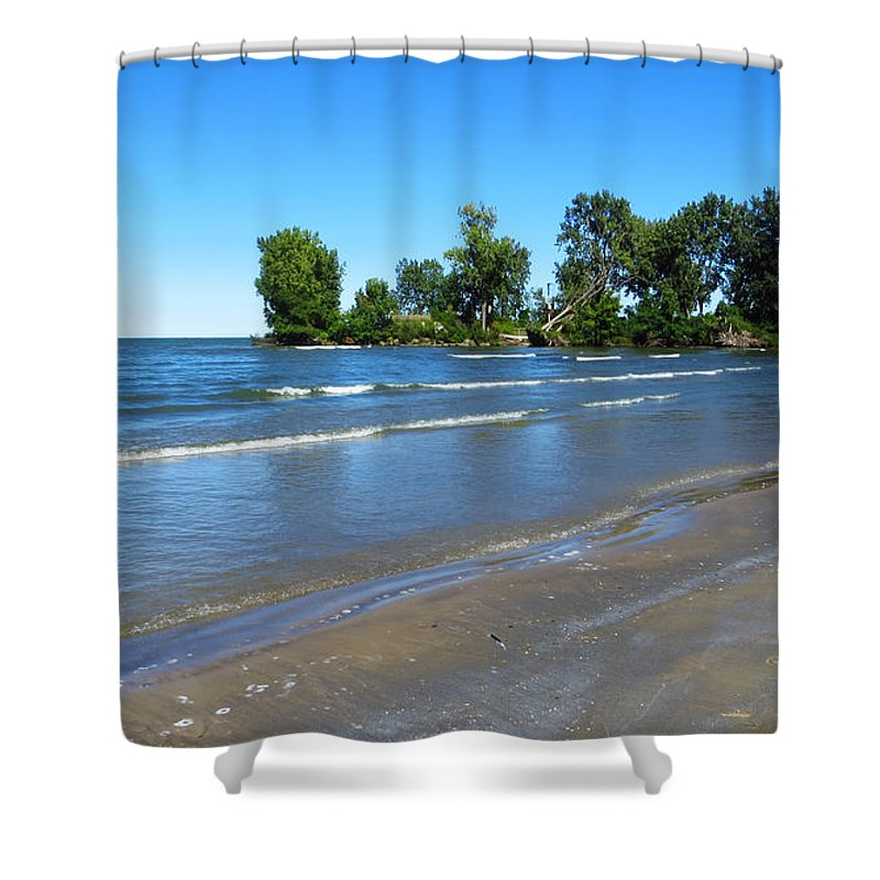 Sheldon Marsh Shower Curtain featuring the photograph Lake Erie At Sheldon Marsh 2 by Shawna Rowe