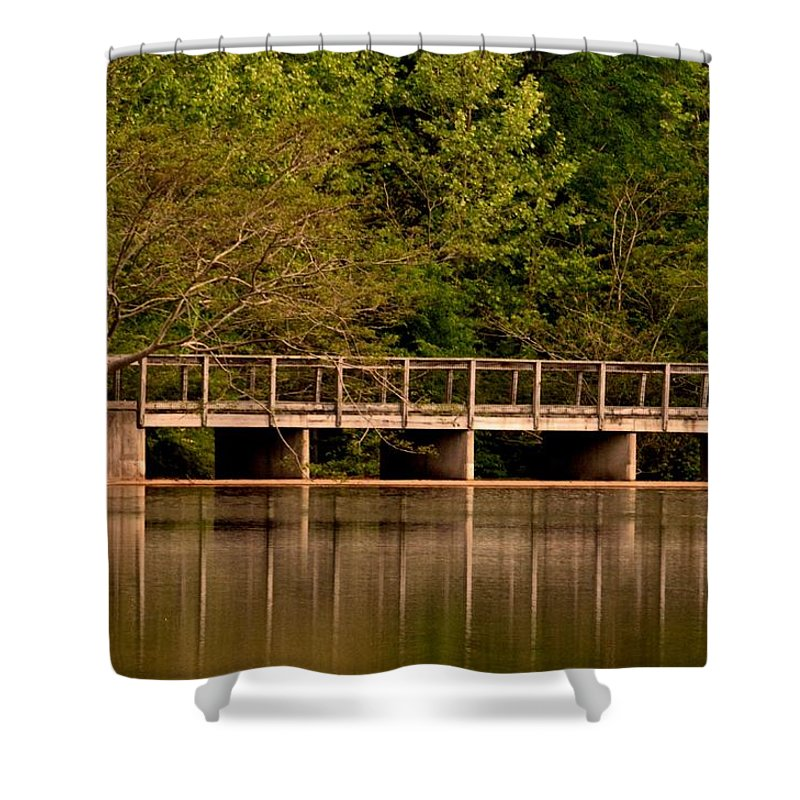 Lake Forest Bridge Shower Curtain featuring the photograph Lake Forest Bridge by Maria Urso