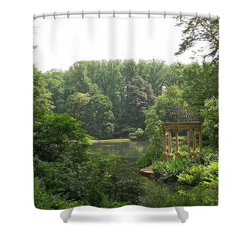 Lake Shower Curtain featuring the photograph Lake Gazebo by Barbara McDevitt