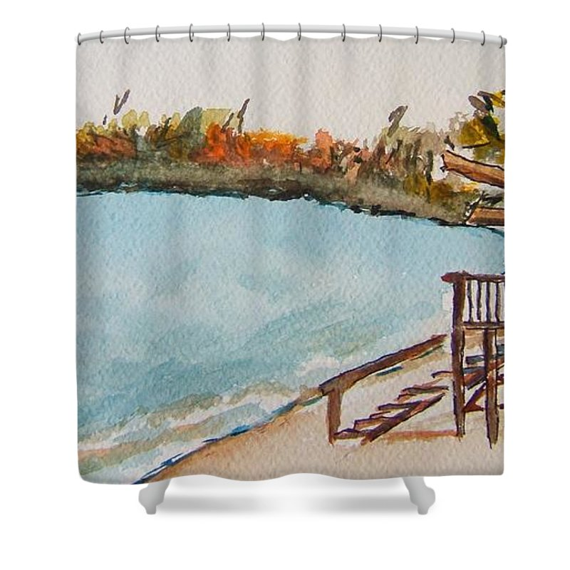 Lake Geneva Shower Curtain featuring the painting Lake Geneva Shoreline by Elaine Duras