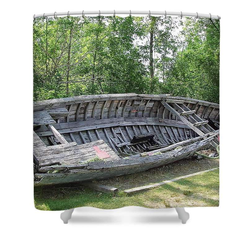 Old Shower Curtain featuring the photograph Lake Huron Relic by Susan Wyman