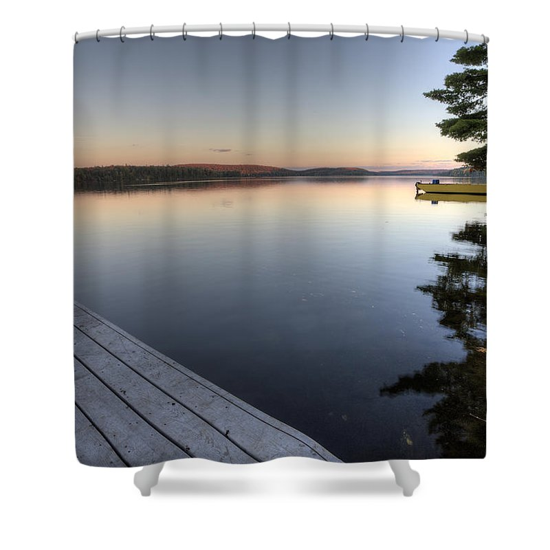 Bright Shower Curtain featuring the photograph Lake In Autumn Sunrise Reflection by Mark Duffy
