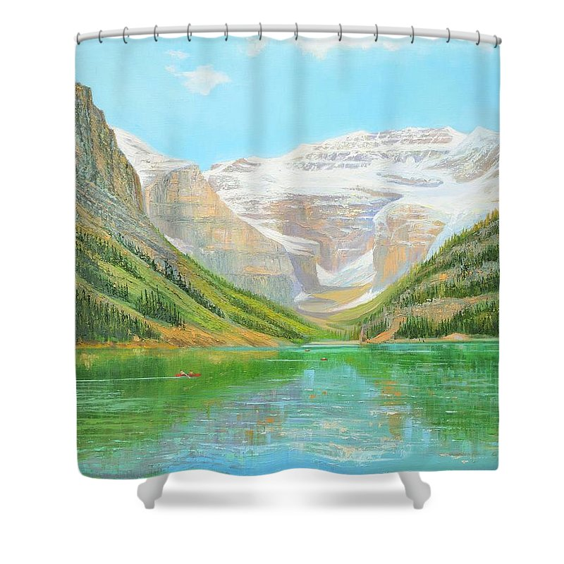 Landscape Shower Curtain featuring the painting Lake Louise by Yinguo Huang