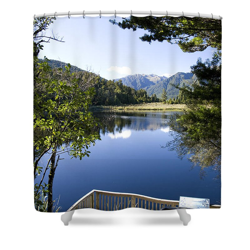Lake Matheson Shower Curtain featuring the photograph Lake Matheson by Martin Berry