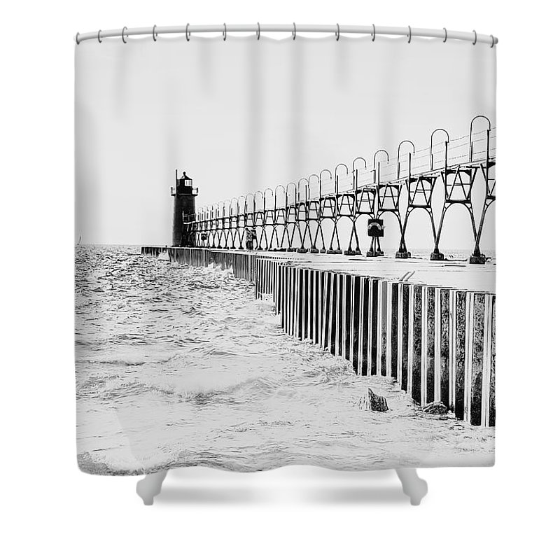 South Haven Shower Curtain featuring the photograph Lake Michigan Lighthouse by Emily Kay