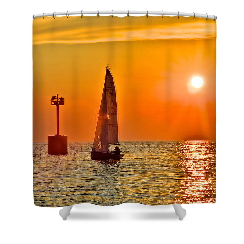 Gold Shower Curtain featuring the photograph Lake Of Gold by Frozen in Time Fine Art Photography