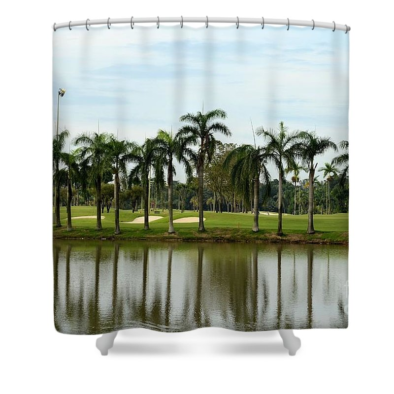 Golf Shower Curtain featuring the photograph Lake Sand Traps Palm Trees And Golf Course Singapore by Imran Ahmed