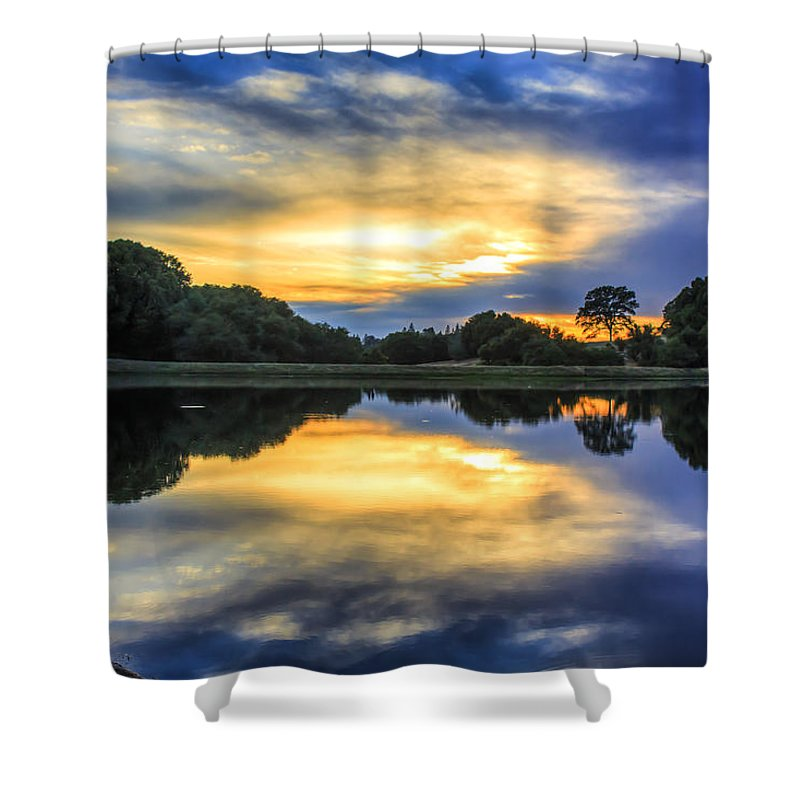 Landscape Shower Curtain featuring the photograph Lake Sunset by Gregory Dean