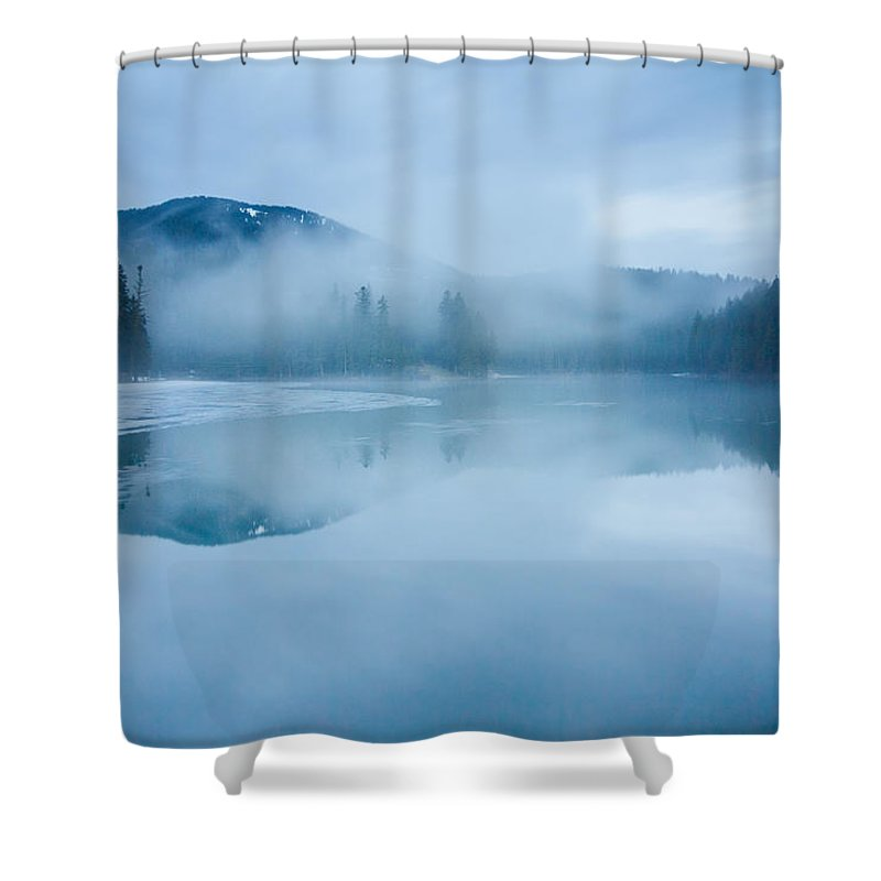 Scenics Shower Curtain featuring the photograph Lake Surrounded By Mountains And Forest by Verybigalex