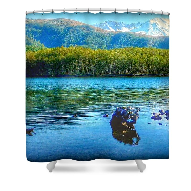 Lake Shower Curtain featuring the photograph Lake View Of Mount Saint Helens by Susan Garren
