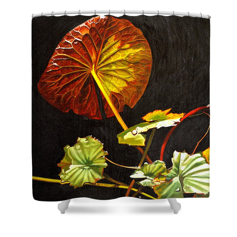 Lily Pad Shower Curtain featuring the painting Lake Washington Lily Pad 18 by Thu Nguyen