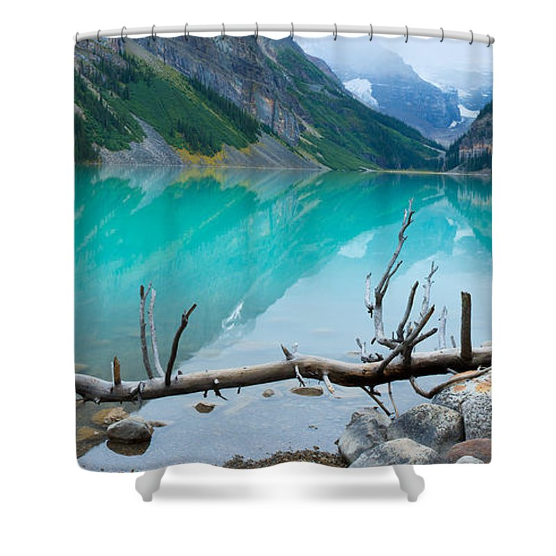 Photography Shower Curtain featuring the photograph Lake With Canadian Rockies by Panoramic Images