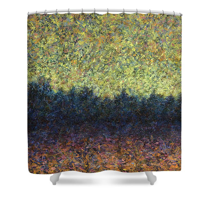 Lakeshore Shower Curtain featuring the painting Lakeshore Sunset by James W Johnson