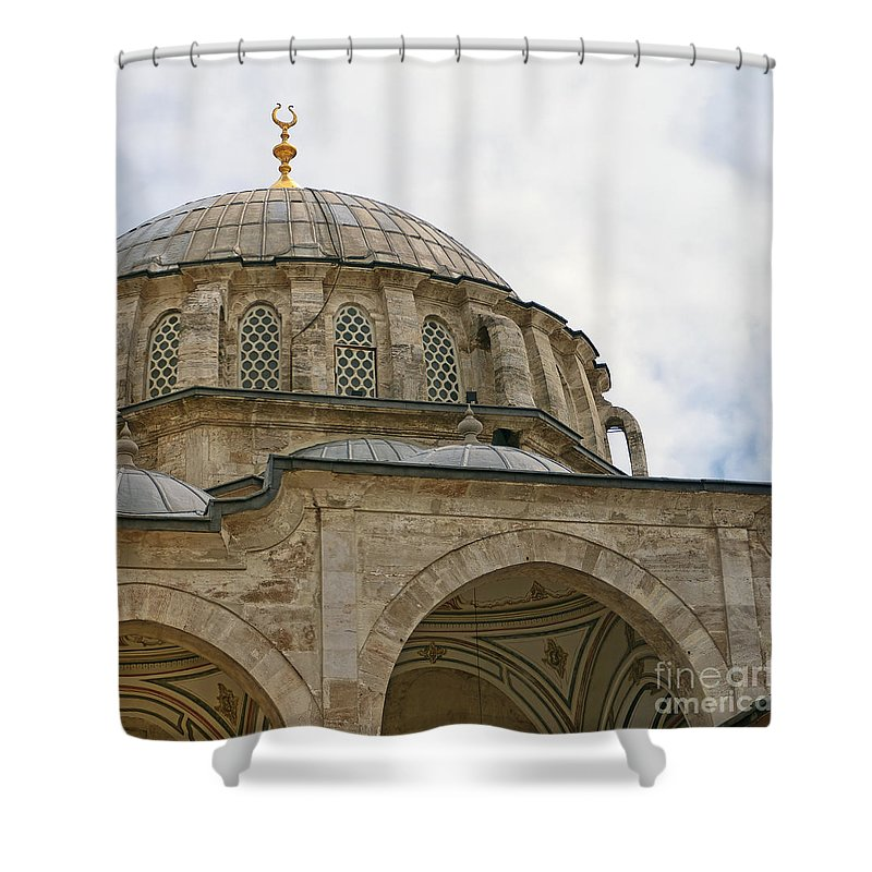 Istanbul Shower Curtain featuring the photograph laleli Mosque 03 by Antony McAulay