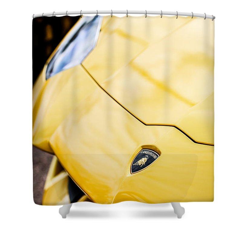 Lamborghini Hood Emblem Shower Curtain featuring the photograph Lamborghini Hood Emblem -1661c by Jill Reger