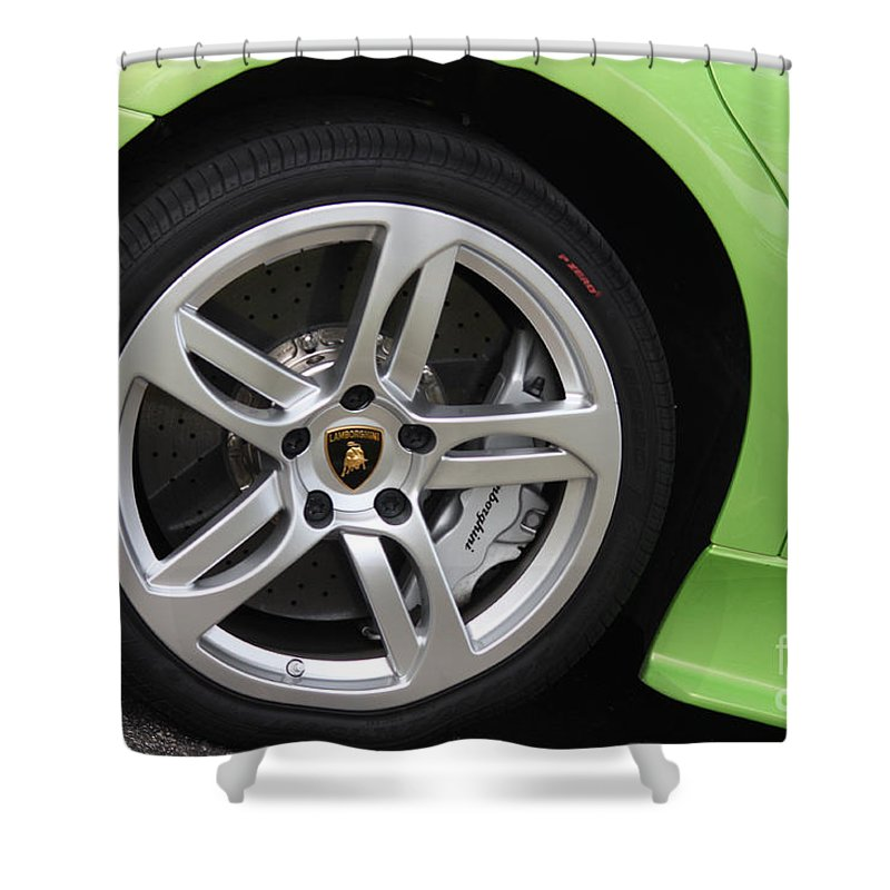 Lamborghini Shower Curtain featuring the photograph Lambowheel8680 by Gary Gingrich Galleries