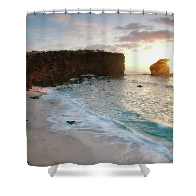 Scenics Shower Curtain featuring the photograph Lanai Sunset Resort Beach by M Swiet Productions