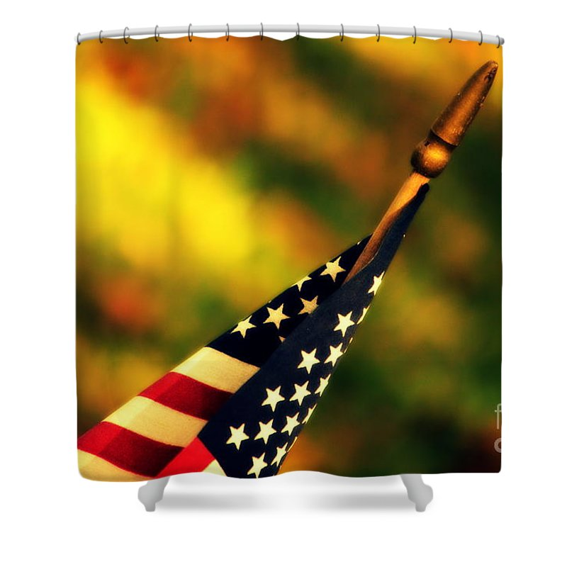 Flag Shower Curtain featuring the photograph Land Of The Free by Susanne Van Hulst