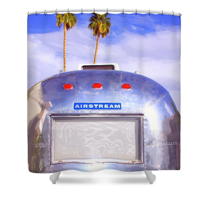 Airstream Shower Curtain featuring the photograph Land Yacht Palm Springs by William Dey