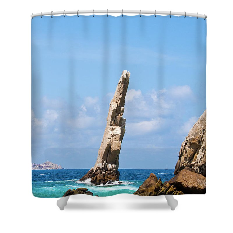 Scenics Shower Curtain featuring the photograph Lands End Rock by Christopher Kimmel