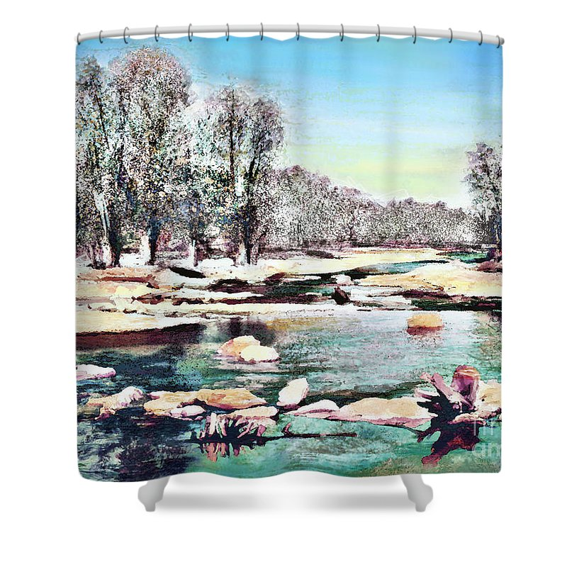 Theo Danella Shower Curtain featuring the painting Landscape 1 by Theo Danella