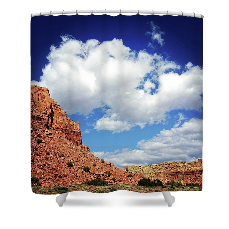 Scenics Shower Curtain featuring the photograph Landscape Desert Badlands Sky by Amygdala imagery