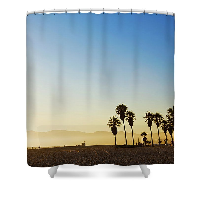 Santa Monica Mountains Shower Curtain featuring the photograph Landscape Image Of Venice Beach by Bluehill75