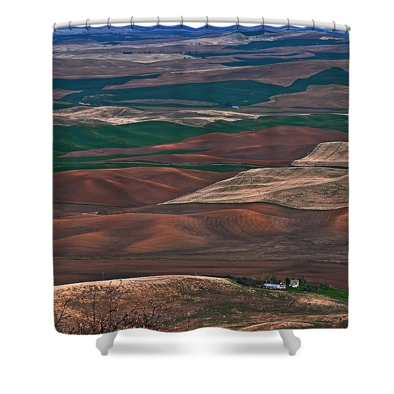 Blue Sky Shower Curtain featuring the photograph Landscape Of Rolling Farmland Steptoe Butte Washington Art Prints by Valerie Garner