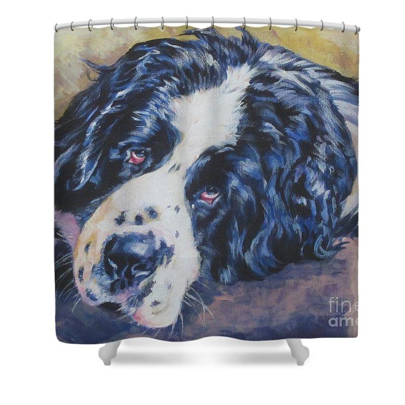 Landseer Shower Curtain featuring the painting Landseer Newfoundland Dog by Lee Ann Shepard