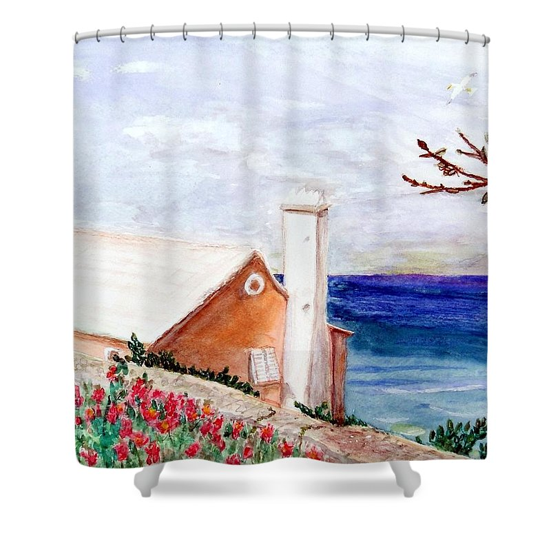 Bermuda Shower Curtain featuring the mixed media Lane In Old Bermuda by Barbie Corbett-Newmin
