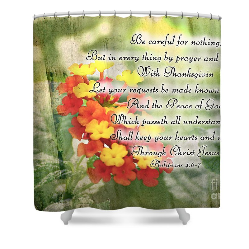 Nature Shower Curtain featuring the photograph Lantana Greeting Card With Verse by Debbie Portwood