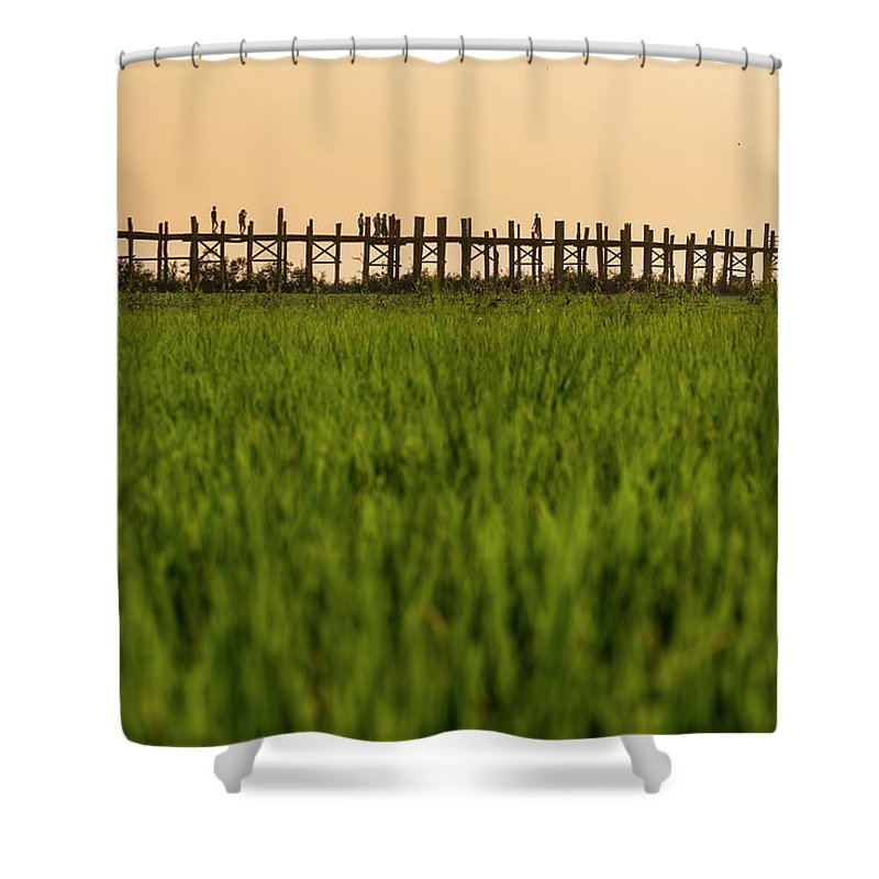 Built Structure Shower Curtain featuring the photograph Large Rice Paddy Below U Bein Bridge by Merten Snijders
