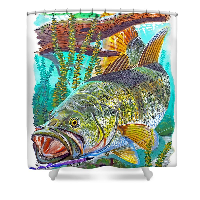 Gar Shower Curtain featuring the painting Largemouth Bass by Carey Chen