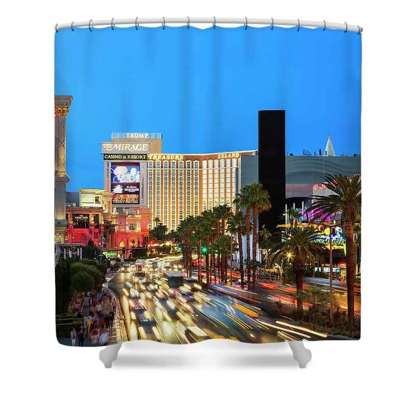 Built Structure Shower Curtain featuring the photograph Las Vegas Strip At Dusk With Hotels And by Sylvain Sonnet